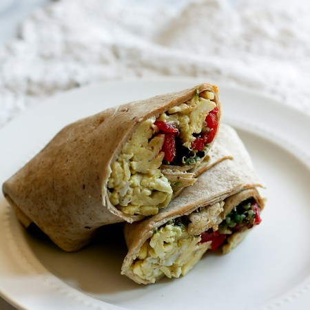 Roasted Red Pepper, Pesto & Quinoa Breakfast Burritos