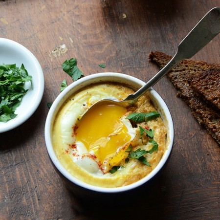 Baked Eggs with Smoky Caramelized Onion and Wilted Chard