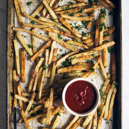 Baked French Fries with Garlic, Parmesan & Truffle Oil