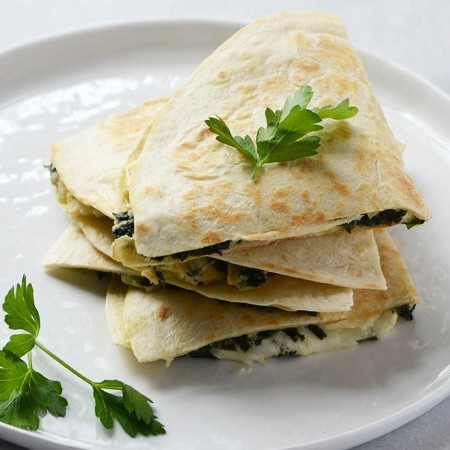 Cheesy Kale-Artichoke Quesadillas