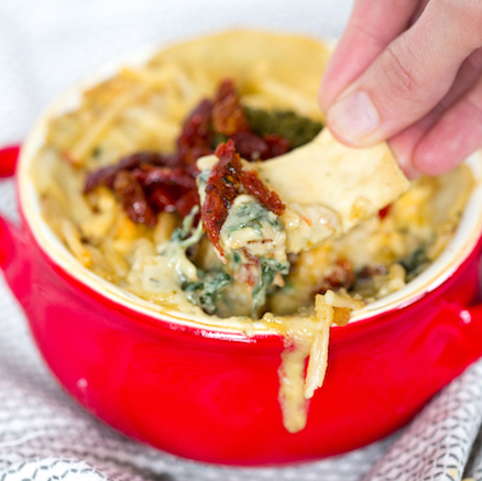 Pesto Sun Dried Tomato Spinach Dip