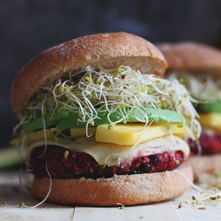 Sweet & Spicy Quinoa Beet Burgers with Mango & Sprouts