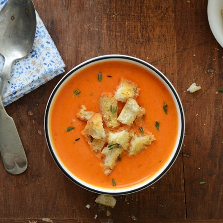 Roasted Red Pepper Soup with Cheesy Herb and Garlic Croutons