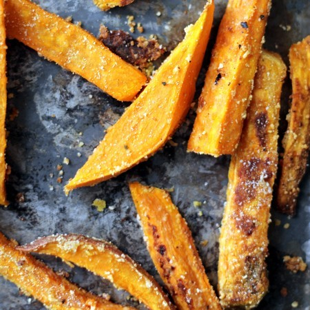 Parmesan and Garlic Baked Sweet Potato Fries