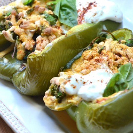 Vegetarian Grilled Spinach Stuffed Peppers