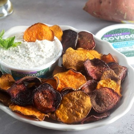 Baked Sweet Potato and Beet Chips with Horseradish Dip