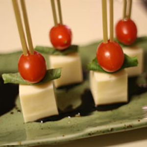 Cherry Tomato Basil Skewers with GO Veggie! Lactose Free Mozzarella Block