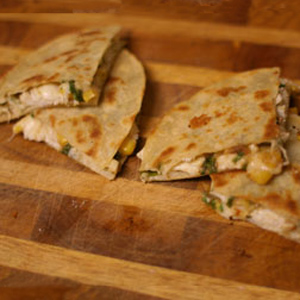 Crab And Corn Quesadillas with Scallion and GO Veggie! Shreds