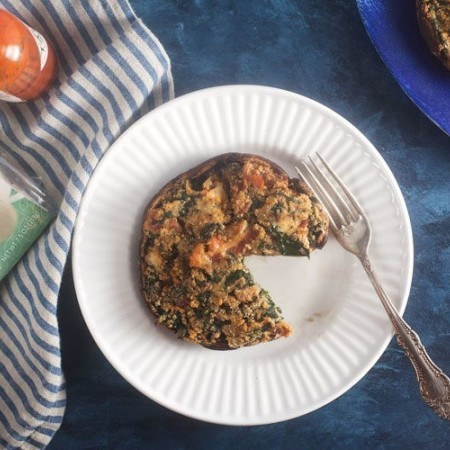 Grilled Spinach and Cheese Stuffed Portobello Caps