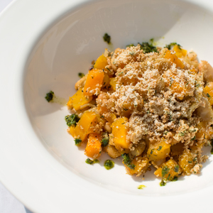 Butternut Squash, Sweet Potato and White Bean Bake