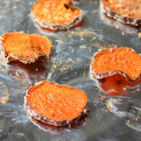 Parmesan Garlic Baked Sweet Potato Chips